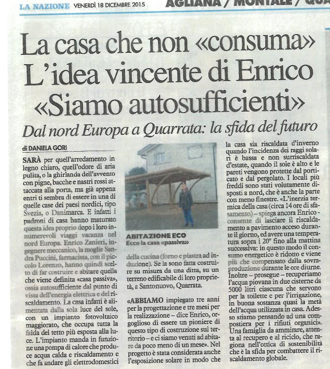"""Articolo su """"La Nazione"""" 19 Dicembre 2015"""